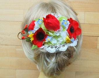 Red Anemone Tulip Poppy Bridal Flower Hair Comb or Sash, Anemone Weddings Hair Accessories, Red Green Yellow Blue Sash Belt, Photo Prop