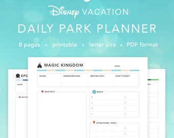 Disney World Daily Parks Planner   Disney Agenda Itinerary Planning Pages   INSTANT DOWNLOAD