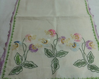 Vintage Table Runner Hand Embroidered with lavendar edge floral pattern