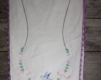 vintage hand embroidered dresser scarf table runner blue bird with purple crochet edges
