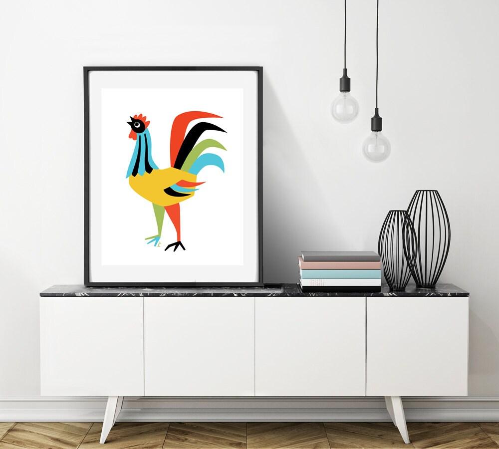 Extra große Wandkunst Hahn-Dekor Huhn Kunst Hahn Küche