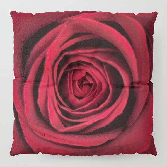 """Red Rose FLOOR Pillow, Square 26"""" and 30"""", Floor Cushion, Eye Candy, Dorm, Teen Decor, Office, Home Statement Piece, Flower,Wedding,Feminine"""