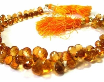 1/2 Strand of Champagne Citrine Micro Faceted Drop Briolettes Size 6x4 -7x4mm