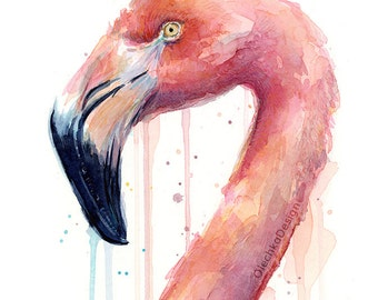Flamingo Watercolor Painting, Flamingo Art, Flamingo Art Print, Pink Flamingo Print, Tropical Bird, Art Print, Tropical Bird Painting