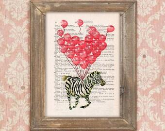 Zebra print, Zebra with balloons,Zebra poster, Zebra illustration, Zebra art, anniversary print, heart balloons, zebra motif, zebra design