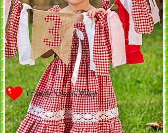 Red and white checkered dress for girls, Red and white plaid dress, Red and white ruched dress for girls, Red gingham dress, CandydresShop