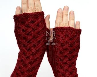 Hand Knitted Fingerless Gloves, Dark Red, Gloves & Mittens
