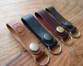 Personalised leather keyring fob with belt loop - hand stitched initials