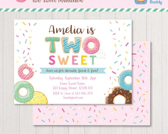 Two Sweet Donut Invitation Printable | Girls 2nd Birthday Party | Sweet Candy Sprinkle | PERSONALIZED Invite Digital File PDF