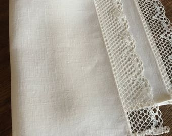 White Linen Placemats Lace Set Wedding