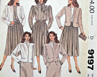 McCall's 9197 Jacket Blouse, Skirts, and Scarf Pattern, Size 16, Factory Folded Uncut,  Vintage 1984, Misses Sewing Pattern