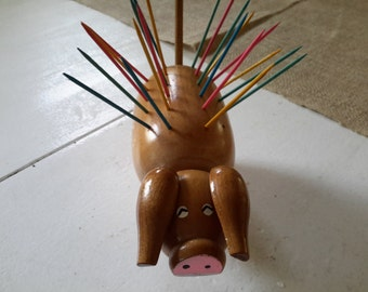 Retro Wooden Pig Hors d'ouvre Serving Piece