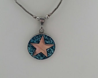 SALE -1970's, Turquoise, Sterling Silver Star, Taxico Mexico, Necklace, Texas Star
