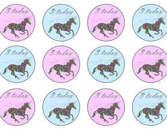 Unicorn CupcakeToppers, Unicorn Toppers, Girl's Birthday Toppers, Edible Toppers, Cupcake Toppers, Wafer Toppers, Icing Toppers