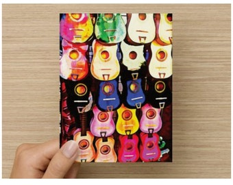 Note Cards Blank Set of 8 Colorful Mexican Mariachi Guitars San Antonio Thank You Card Greeting Card Stationery