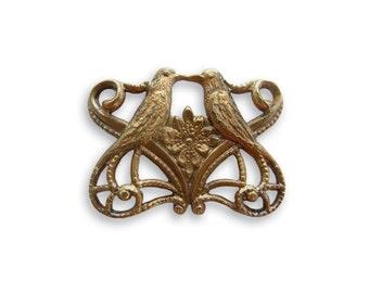 NEW Vintaj Antiqued Brass Love Birds Filigree Connector Brass Ox Vintage Style 19 x 14mm Qty 1