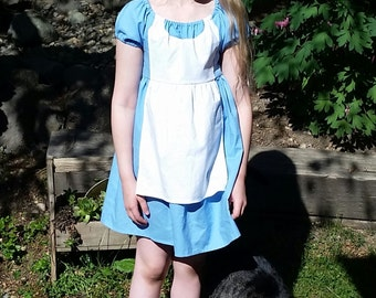 Alice in Wonderland Dress - Alice Inspired Dress - Cotton Play Dress - Tea Party - Alice Disneybound - Girls Alice in Wonderland Costume