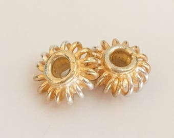 2 Bali Vermeil gold spacers rondelle saucer spiral 6x11mm