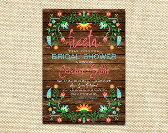 Fiesta Bridal Shower Invitation. Fiesta Engagement Invitation. Mexican Bridal Shower Invitation. Floral Bridal Shower Invitation. Rustic