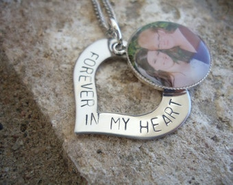 """Memory Photo Necklace Hand Stamped Heart """"Forever in my heart"""" Necklace - In Loving Memory Necklace - Sympathy Gift"""