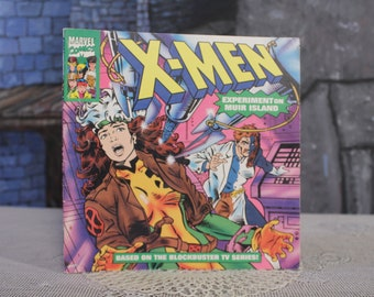 X-Men Experiment on Muir Island Marvel Comics softcover kids Book random house picturebackVintage Retro 90's collectible 1994 comic style