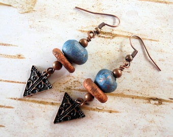 Blue, Brown and Copper Boho Ethnic Earrings (4173)
