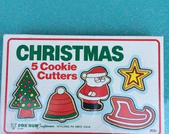 5 vintage Fox Run metal Christmas cookie cutters set