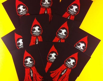 Little Red Death Skeleton 10 Postcard Set by Mister Reusch