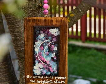 ABSTRACT NIGHT PAINTING Night Painting Moon and Stars Moon Painting Wood Wall Art Home Decor Reclaimed Painting Abstract Night Sky Paint
