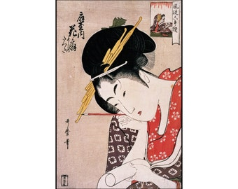 Japanese Art - Japanese Woman Digital Print - Geisha Print - Japanese Wall Decor - Ukiyo-e - Digital Download - Digital Print - Utamaro