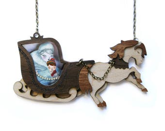 The Snow Queen. Necklace with tiny scenes inside. LaliBlue
