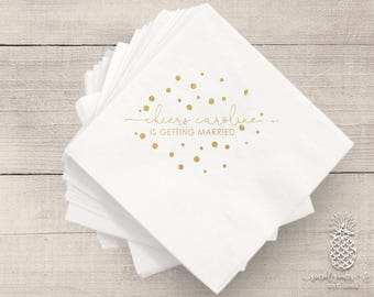 Engagement, Customizable Cocktail Cheers Wedding Napkins