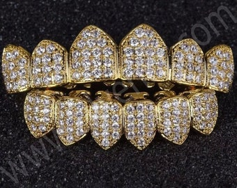 18k Gold Plated CZ Cluster Custom Slugs Top Bottom GRILLZ Mouth Teeth Grills Set