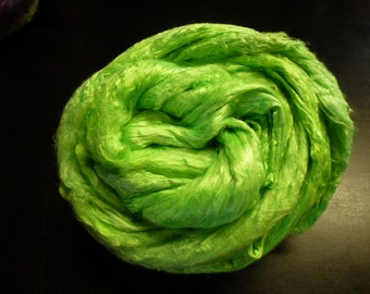 Neon Green Lizard King  Hand Dyed Mulberry Silk Top 2 Ounces