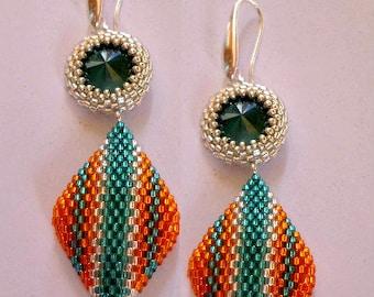 Circular peyote tutorial - Geometries Earrings  with Rocailles and Delica Miyuki - Earrings peyote stitch pattern