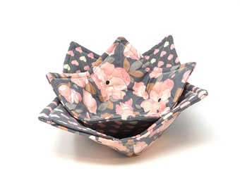 Microwave Bowl Cozy Set of 2, Pink Bowl Cozy, Fabric Bowl Cozie, Microwave Fabric Bowl Cozy, Ice Cream Bowl Holder, Hearts, Floral, Gray