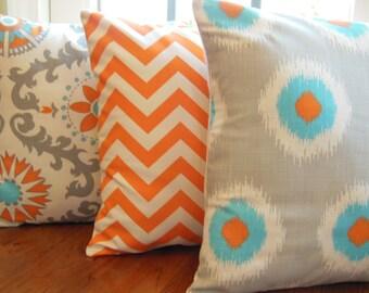 "Orange Aqua Throw Pillows Decorative Cushion Covers 16"" Chevron Damask Couch Pillow Cushions Nursery Decor Orange  Aqua Cream Bed Pillows"