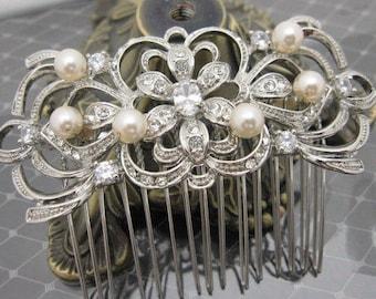 Boho Wedding hair accessories silver,Pearl hair comb,Wedding hair comb Crystal hair clips Bridesmaid hair comb Rhinestone hair piece pearl
