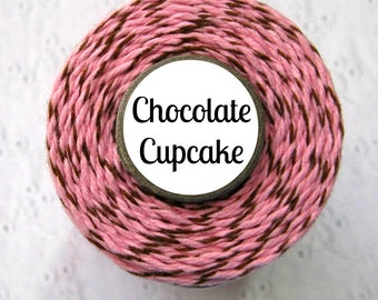 Pink and Brown Bakers Twine by Trendy Twine - Chocolate Cupcake - Bakery, Baking, Packaging, Treats, Favors, Showers