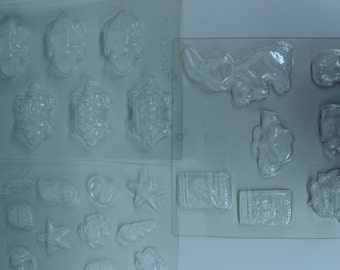 Set of Three Unused Plastic Sheet Molds for Wax Candy Plaster Paper