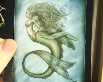 Blue mermaid, Post Card by Renae Taylor
