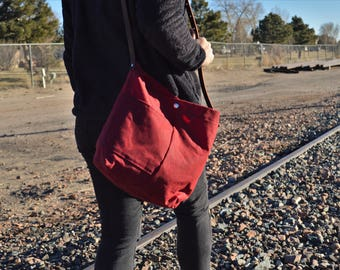 Waxed Canvas and Leather Tote - Bucket Bag
