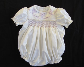 Ivory Smocked Romper  Size 0 to 3 months