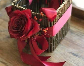 Flower Girl Basket, Autumn Flower Girl Basket, Fall Wedding Basket, Rustic Basket, Woodland Basket, Fall Theme Wedding Basket