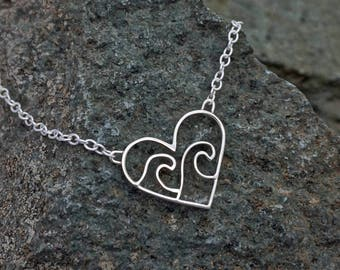 Ocean Wave Heart Necklace - Love The Ocean - Handmade Sterling Silver Necklace - Wave Surf Nautical Pendant - Paddle boarding Scuba diving