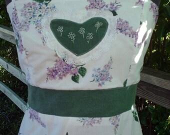 Long Dress,Handmade Dress,Hippie Boho,Lilac Flowers,Unique Clothing,Apron Dress,Pretty,Heart,Eyelet,Maxi Dress,Purple Flowers,Medium Large