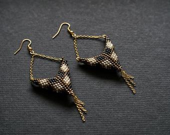 Harlequin Earrings, Chessboard Earrings, Black White Earrings, Long Golden Earrings, Golden Tassel Earrings, Elegant Earrings, Posh Earrings