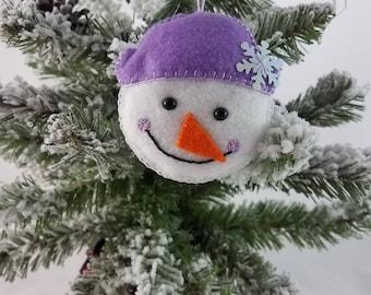 Handmade Felt Snowman Christmas Ornament- 1 Lavendar