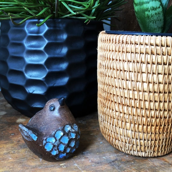 Swedish ceramic bird figurine by Bengt Wall for Wall Trosa ceramics Sweden midcentury modern blue and brown hygge boho