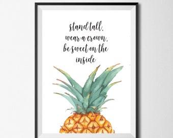 Pineapple Decor, Pineapple Wall Print, Pineapple Wall Art, Pineapple Printable, Tropical Print, Pineapple, Pineapple Art, Tropical Art, Home